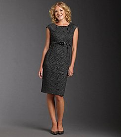 Jessica Howard® Animal-print Belted Sheath Dress - Black/Gray