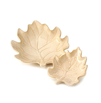 Ruff Hewn Harvest Dinnerware Collection Leaf Plates - Linen