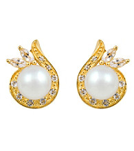 18k Gold-Over-Sterling Silver, Pearl and Topaz Earrings