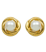 18k Gold-Over-Sterling Silver, Freshwater Pearl Earrings