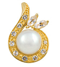 18k Gold-Over-Sterling Silver, Pearl and Topaz Pendant