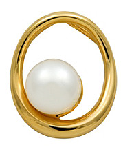 18k Gold-Over-Sterling Silver and Pearl Oval Pendant