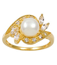 18k Gold-Over-Sterling Silver, Pearl and Topaz Ring
