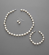 Freshwater Pearl Necklace, Bracelet and Earring Set - White