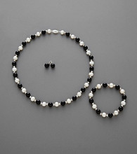 Sterling Silver, Pearl and Onyx Necklace, Bracelet Stud Set
