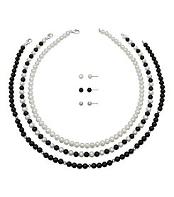 Sterling Silver, Pearl & Onyx Necklace/Earring Set