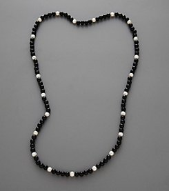 Freshwater Pearl & Onyx Endless Necklace - White/Black