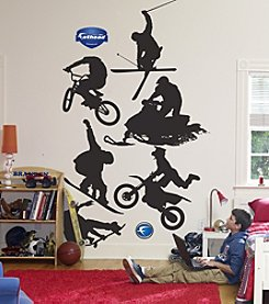 Fathead Assorted Extreme Sports Silhouette Stick-on Wall Graphics