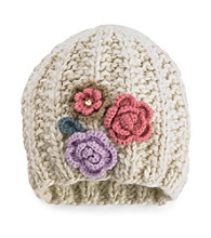 San Diego Hat Co.® Flower Accented Beanie Hat - Oatmeal