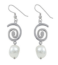 Sterling Silver & Baroque Freshwater Pearl Earrings