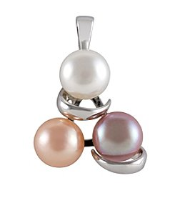 .925 Sterling Silver & Freshwater Pearl Button Pendant