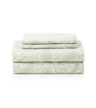LivingQuarters Easy Care Green Paisley Microfiber Print Sheet Sets