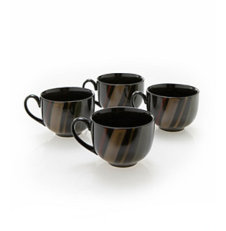 Sango Avanti Black Set of 4 Mugs
