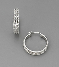 .25 ct. t.w. Genuine Diamond Three-Row Hoop Earrings