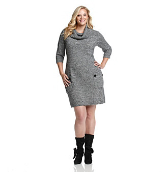 White Sweater Dress on London Times   Plus Size Marled Cowlneck Sweater Dress   Black White