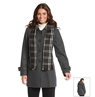 Forecaster Plaid Scarf & Single-breasted Coat