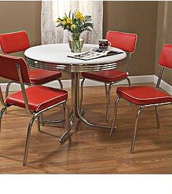 TMS Red Retro Dining Set
