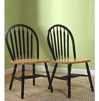 TMS Set of 2 Natural Black Arrowback Chairs