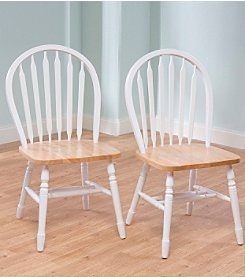 TMS Set of 2 Natural White Arrowback Chairs