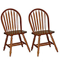TMS Set of 2 Oak Finish Arrowback Chairs