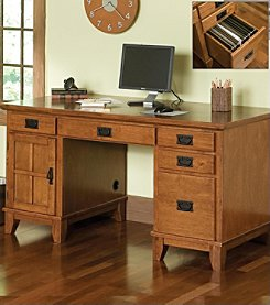 Home Styles® Arts & Crafts Pedestal Desk - Cottage Oak
