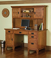 Home Styles® Arts & Crafts Pedestal Desk and Hutch - Cottage Oak