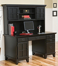 Home Styles® Arts & Crafts Pedestal Desk and Hutch - Ebony