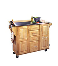 Home Styles® Stainless Steel Top Kitchen Center with Breakfast Bar - Natural