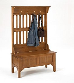Home Styles® Hall Tree with Full Storage Bench - Cottage Oak