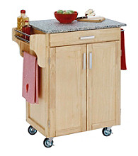 Home Styles® Natural Kitchen Cart with Salt and Pepper Granite Top