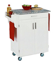 Home Styles® Cuisine Kitchen Cart with Salt and Pepper Granite Top - White