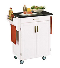 Home Styles® Cuisine Kitchen Cart with Black Granite Top - White