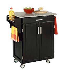 Home Styles® Cuisine Kitchen Cart with Salt and Pepper Granite Top - Black