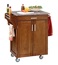 Home Styles® Cuisine Kitchen Cart with Salt and Pepper Granite Top - Cottage Oak