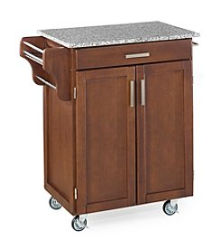 Home Styles® Cuisine Kitchen Cart with Salt and Pepper Granite Top - Medium Cherry