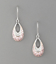 Rhodium-Plated Sterling Silver Rose & Clear Cubic Zirconia Wire Earrings