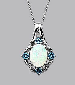 Created Opal and Blue Topaz Pendant