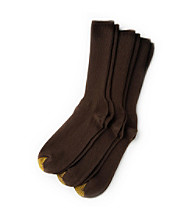 GOLD TOE® Men's 3-Pk. Fresh Tex Casual Fluffy Crew Socks - Brown