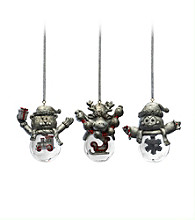 Towle® Silversmiths Holiday Wishes Winter Animals Set of 3 Snow Globe Ornaments