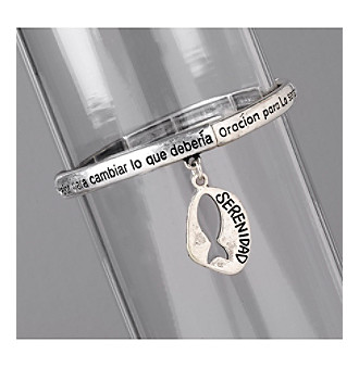 <p>Sure to provide inspiration and guidance in any language, this silvertone bracelet is inscribed with the Serenity Prayer and features a fish charm.</p>