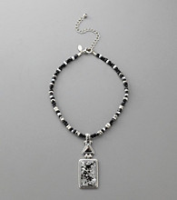 Laura Ashley® Beaded Rectangle Glass Pendant Necklace - Black/Silvertone