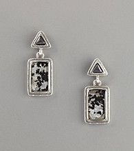 Laura Ashley® Roman Glass Drop Earrings - Black/Silvertone