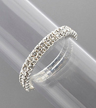 BT-Jeweled Double Row Stone Stretch Bracelet - Crystal/Silvertone