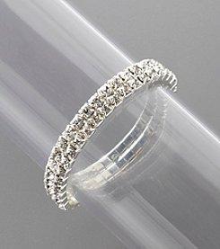 BT-Jeweled Double Row Stone Stretch Bracelet - Crystal/Silvertone