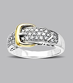 Sterling Silver and 14K Gold .25 ct. t.w. Diamond Buckle Ring