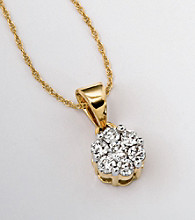 10K Gold .40 ct. t.w. Diamond Cluster Pendant