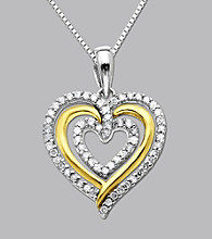 Sterling Silver and 14K Gold .20 ct. t.w. Diamond Heart Pendant