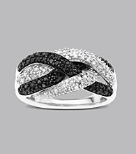 Sterling Silver .50 ct. t.w. Black and White Diamond Twist Ring