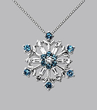 Sterling Silver Blue and White Topaz Snowflake Pendant