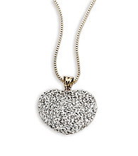 Sterling Silver and 10K Gold Crystal Heart Pendant
